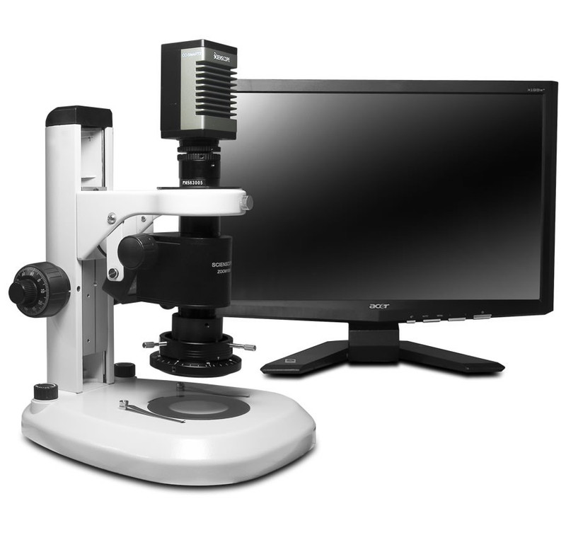 """Scienscope MZ7A-PK2-4KSC-R3, MZ7A Micro Zoom System on Standard Track Stand with 4K HDMI SmartCam, LED Ring Light with Polarizer & 23"""" HD LCD Monitor"""