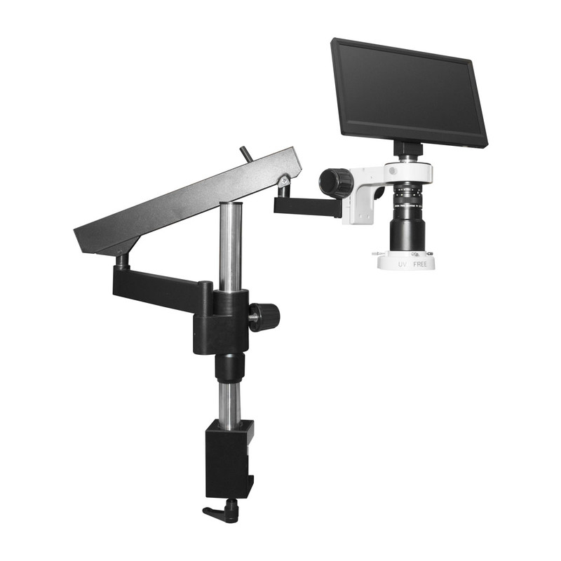 Scienscope MAC3-PK3-E1Q, MAC3 HD Compact Video System on Heavy Duty Articulating Arm Stand with Quadrant LED Ring Light