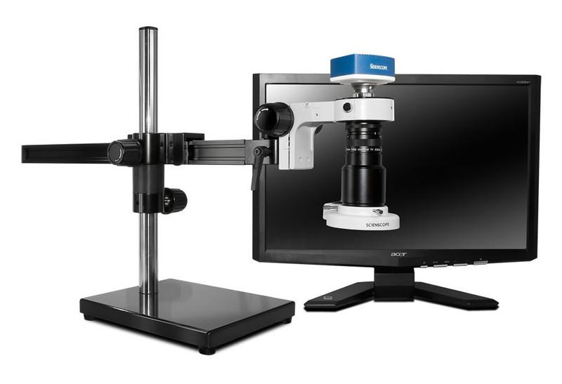 "Scienscope MAC-PK5-E1Q, MACRO Zoom System on Gliding Arm Boom Stand with 1080p HDMI/USB Camera, Quadrant LED Ring Light & 23"" HD LCD Monitor"
