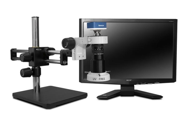 "Scienscope MAC-PK5D-E1Q, MACRO Zoom System on Dual Arm Boom Stand with 1080p HDMI/USB Camera, Quadrant LED Ring Light & 23"" HD LCD Monitor"