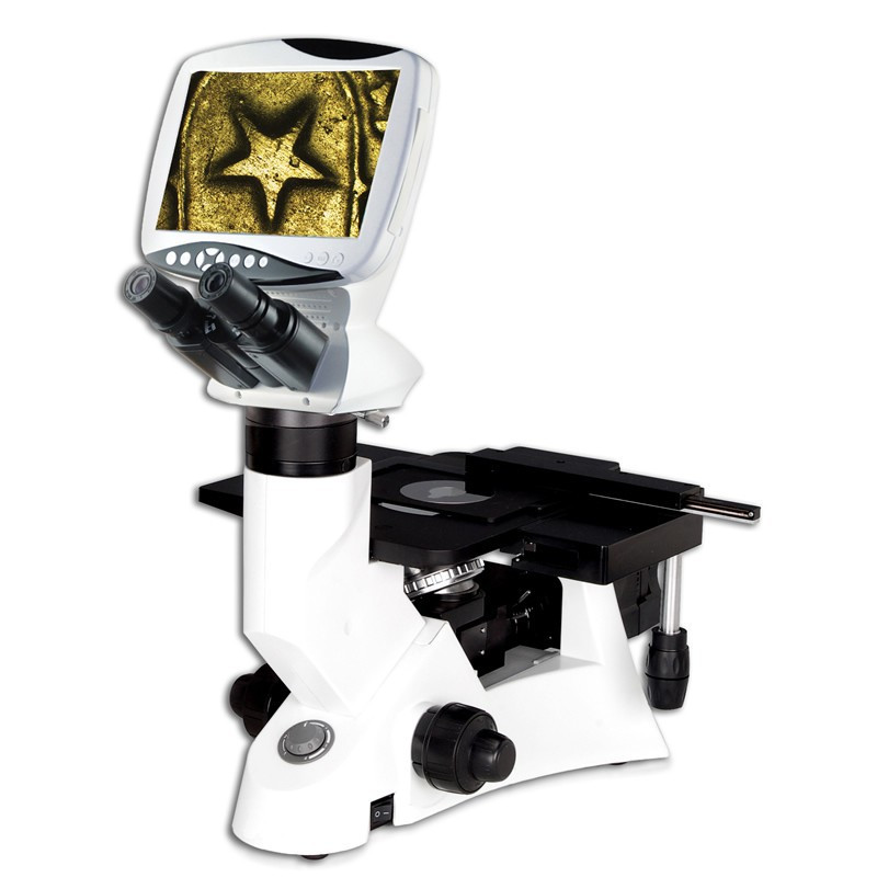 """Steindorff S-1602 Digital Inverted Metallurgical Microscope with 8"""" LCD Screen, 5 Megapixel"""