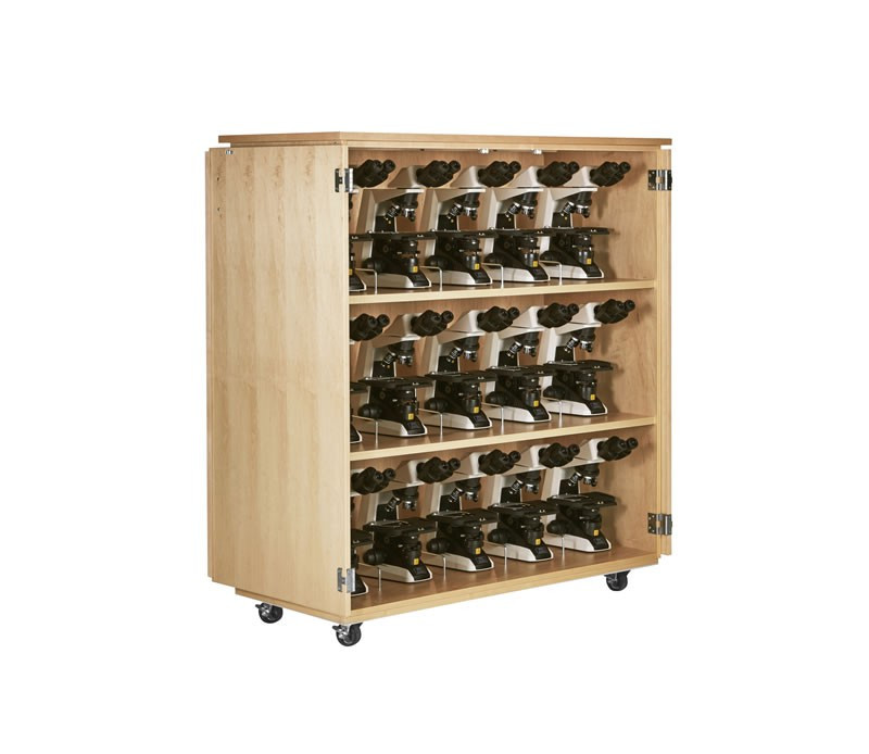 "Mobile Microscope Cabinet - 54""W x 24""D x 64-1/4""H, Red Oak"