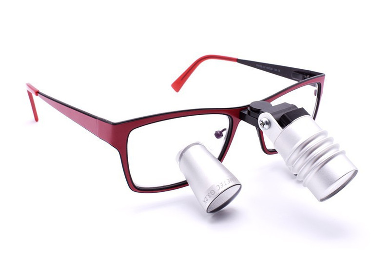 Surgical Eye Loupes 2.7x Fusion TTL with Headlight - Titanium Frame