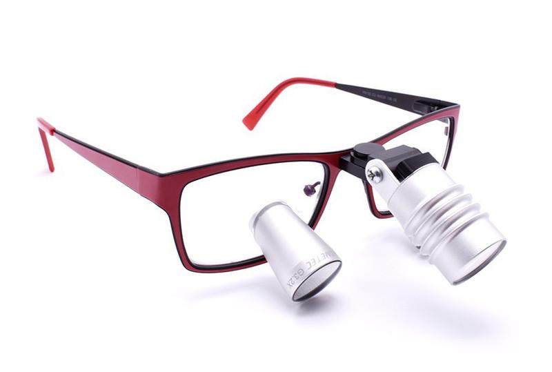 Surgical Eye Loupes 3.5x Fusion TTL with Headlight - Titanium Frame