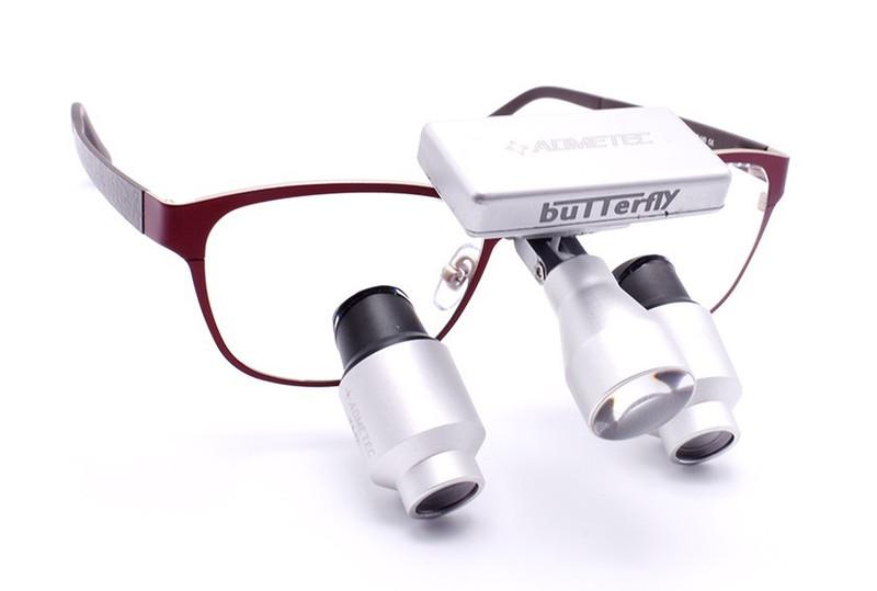 Surgical Eye Loupes 4.0x Fusion Prismatic TTL with Headlight - Titanium Frame