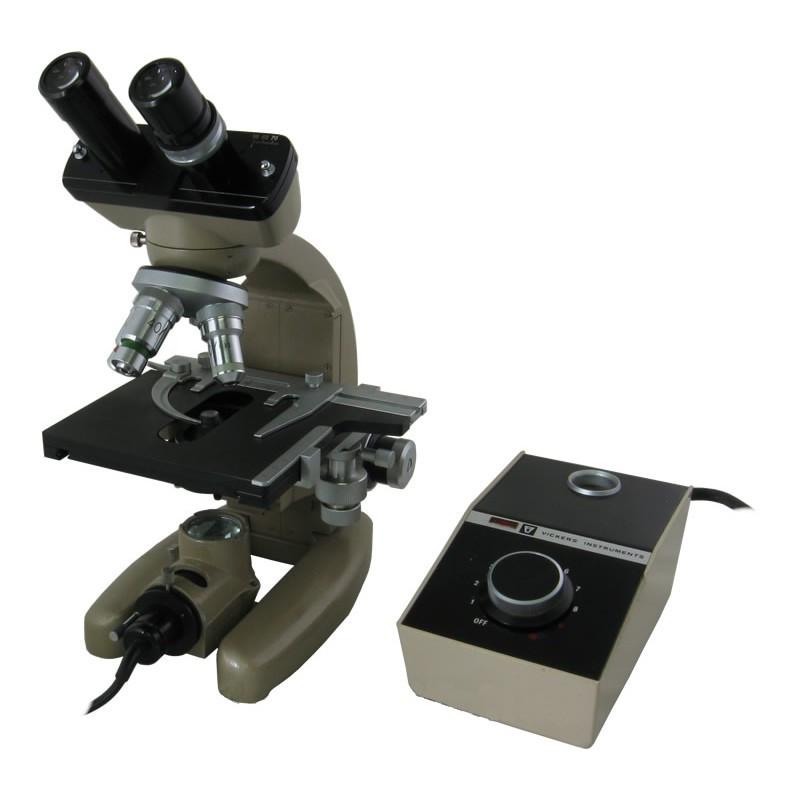 Vicker Instruments Binocular Microscope - Three Objectives, Illumination, Carry Case - Reconditioned