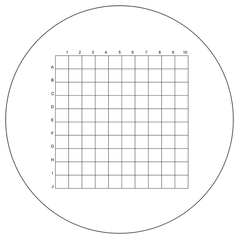 Grid, 0.300″ x 0.300″ in 100 Squares, With Numbers and Letters
