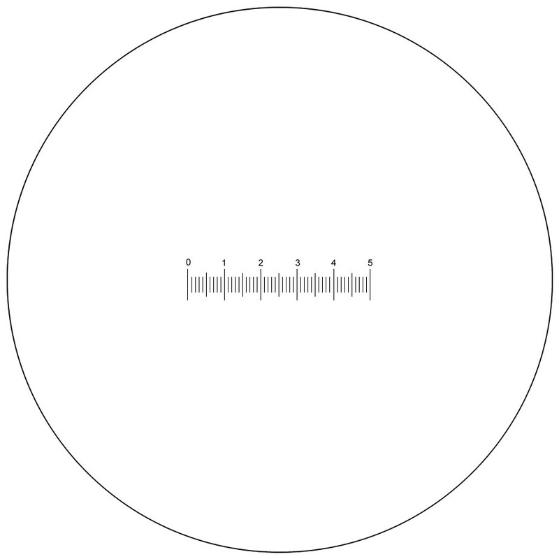 Scale Reticle, 50 Divisions, Numbered 0 to 5