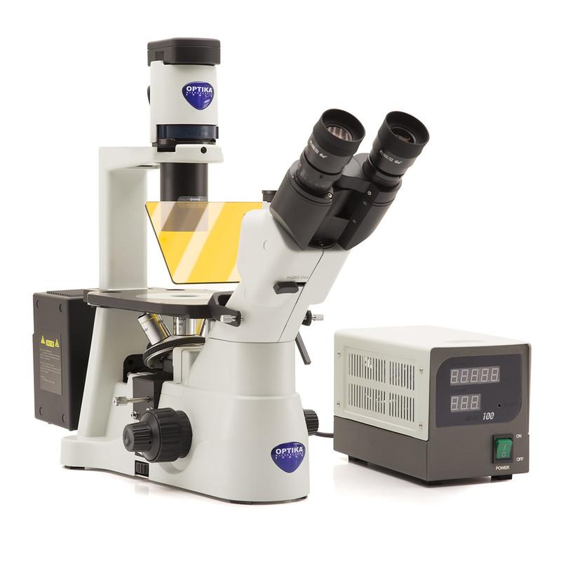 OPTIKA IM-3F Trinocular Inverted Epi-Fluorescence Microscope, 2 Positions Filter Holder