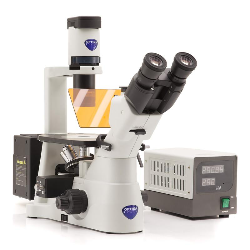 OPTIKA IM-3FL4 Trinocular Inverted Epi-Fluorescence Microscope, 4 Positions Filter Holder
