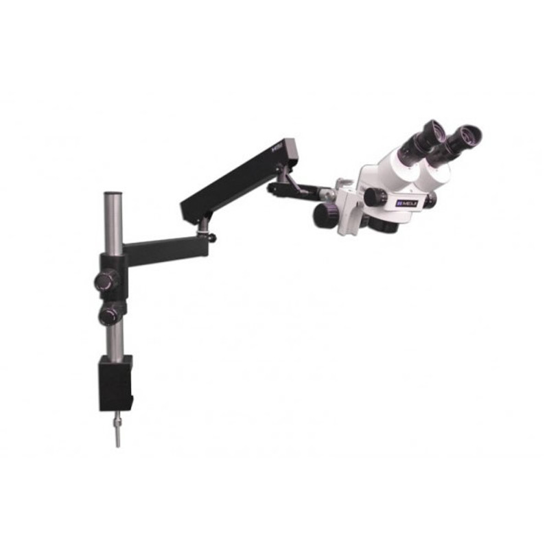 Meiji EMZ-5 Zoom Stereo Microscope on FA-3 Triple Joint Articulating Table Clamp Stand, 7x - 45x Magnification
