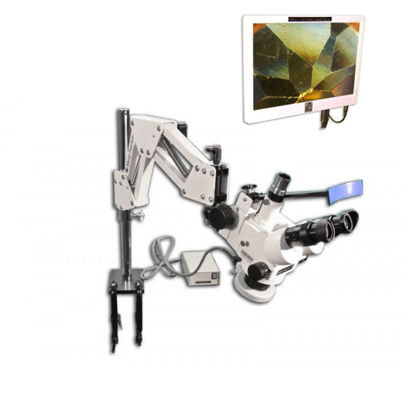 Meiji CREMZ-5TR Digital LCD GEM Stereo Microscope on Articulated Arm Stand with Ring Fluorescent Illuminator