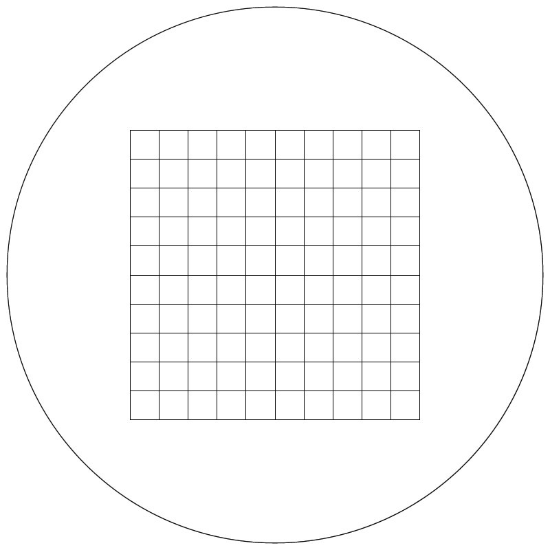 Grid, 10mm in 100 Squares, Without Numbers and Letters