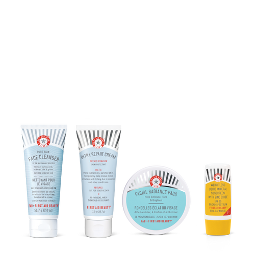 The Fab Four- Face Cleanser, Facial Radiance Pads,Ultra Repair Cream, Weightless Liquid Mineral Sunscreen With Zinc Oxide