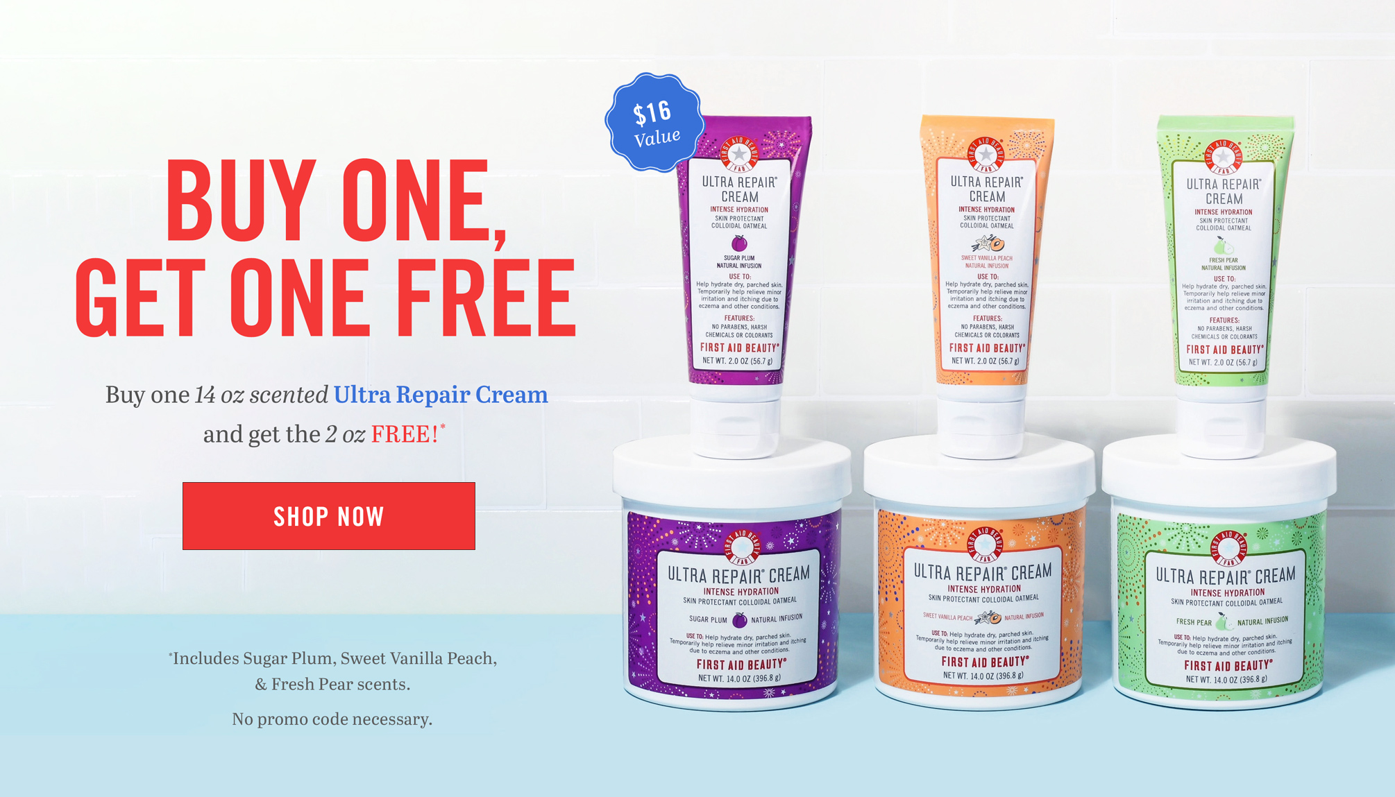 Free 2 oz Ultra Repair Cream with 14 oz purchase. Select scents only!