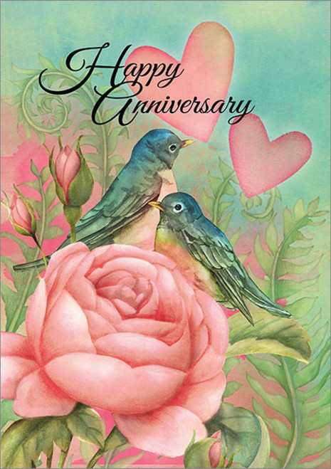 Anniversary Card - Happy Anniversary Birds