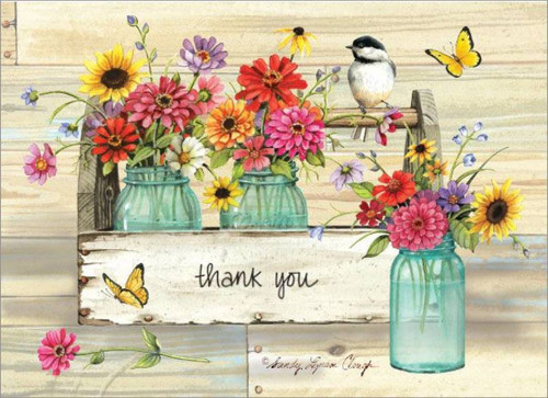 Thank You Card Pack - Flowers in Jars