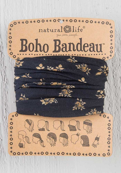 Boho Bandeau Black Cream Floral