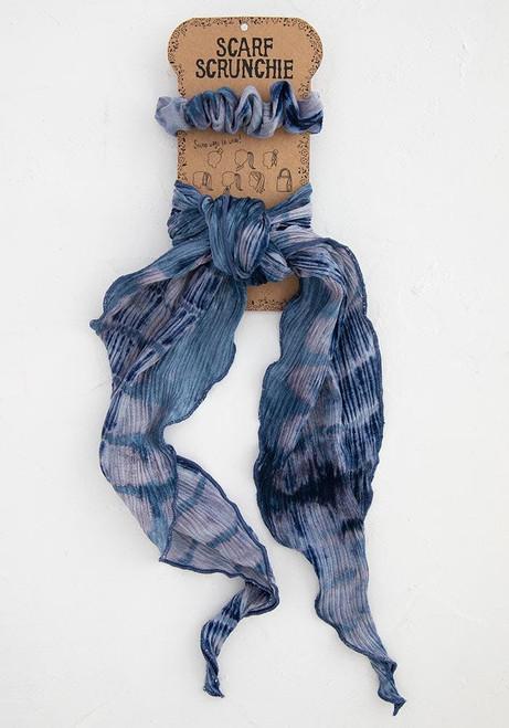 Tie Dye Scarf Scrunchie Indigo