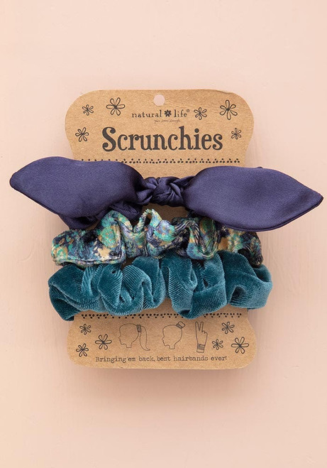 Scrunchies Set of 3 Navy Bow