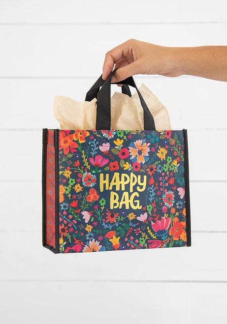 Happy Bag Medium Teal Gold Floral