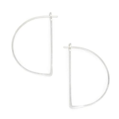 Half Moon Minimal Hoop Earrings Sterling Silver