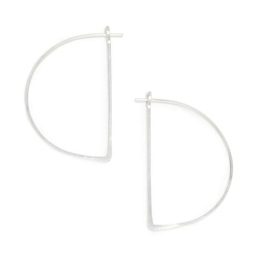 Half Moon Minimal Hoop Earrings Sterling Silver
