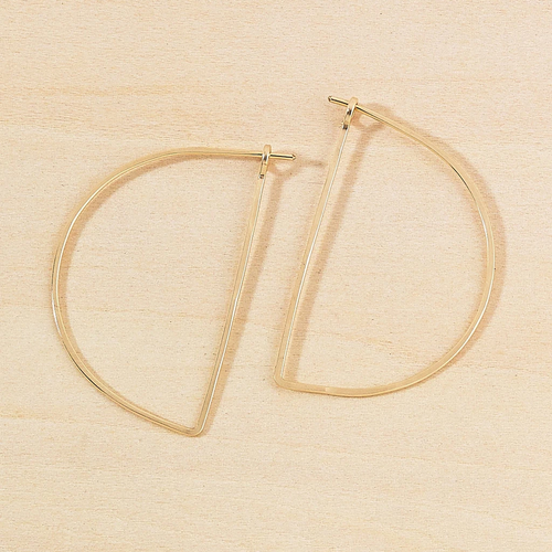 Half Moon Minimal Hoop Earrings Gold Filled
