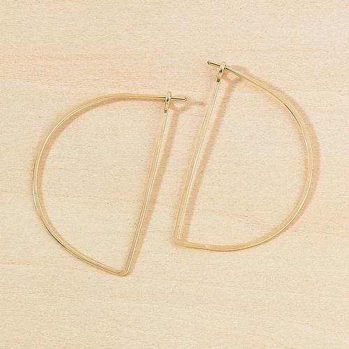 Half Moon Minimal Hoop Earrings Gold Filled