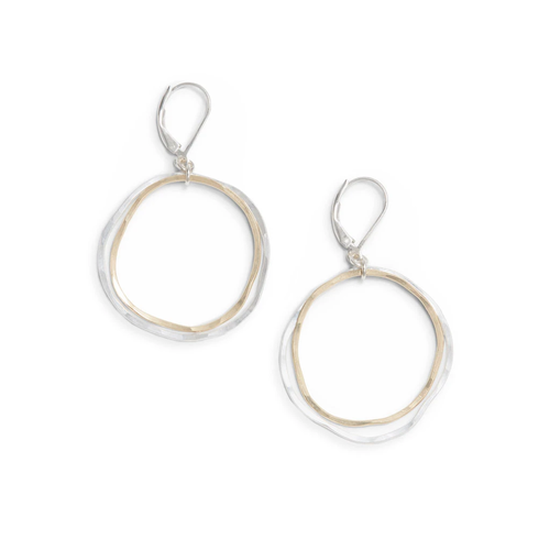 Freshie Zero Caldera Earrings Mixed Gold and Silver Circles