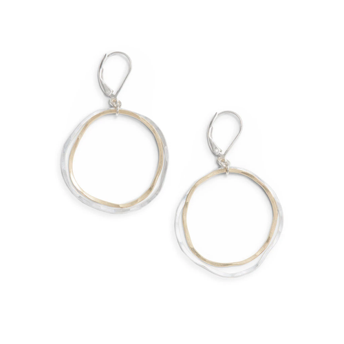 Freshie Zero Caldera Earrings Mixed Gold and Silver Circles