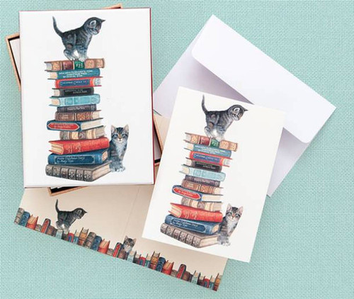 Boxed Note Cards - Kitten on Books