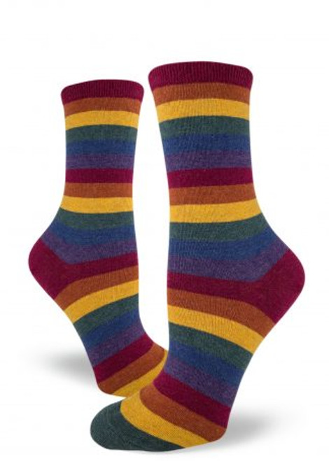 Heather Rainbow Striped Crew Sock