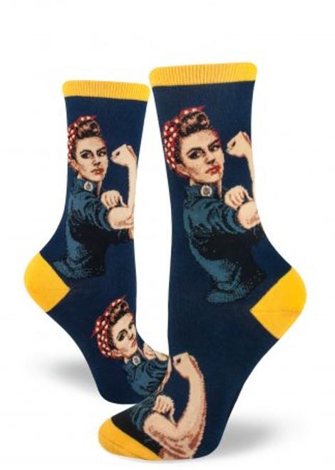 Rosie The Riveter Navy Crew Sock