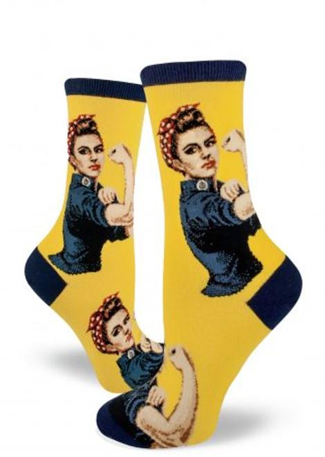 Rosie The Riveter Yellow Crew Sock