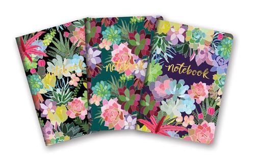 Succulents Notebook Trio