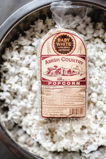 1lb Medium White Hulless Popcorn