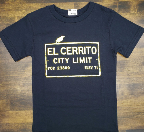 Kid's Black El Cerrito T-Shirt with bright yellow ink