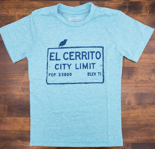 Kid's Heather Aqua El Cerrito T-Shirt