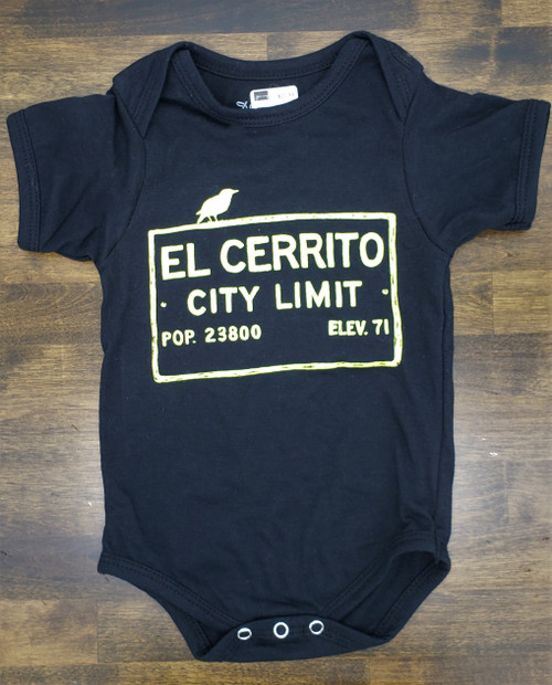 Onesie 12M Black El Cerrito Design (Black Shirt with Yellow Ink)