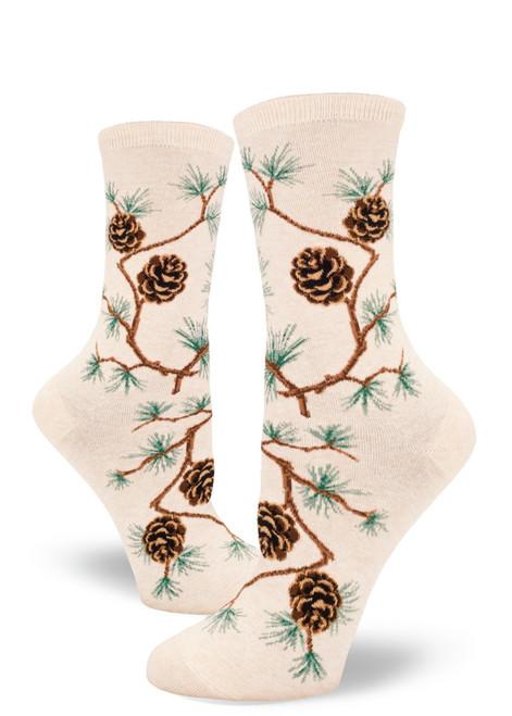 Pinecone Women's Crew Socks - Heather Cream