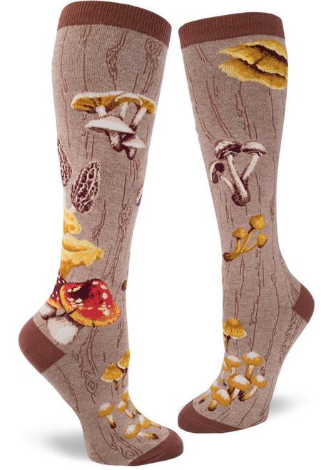 Mushroom Women's Knee Socks - Heather Mushroom