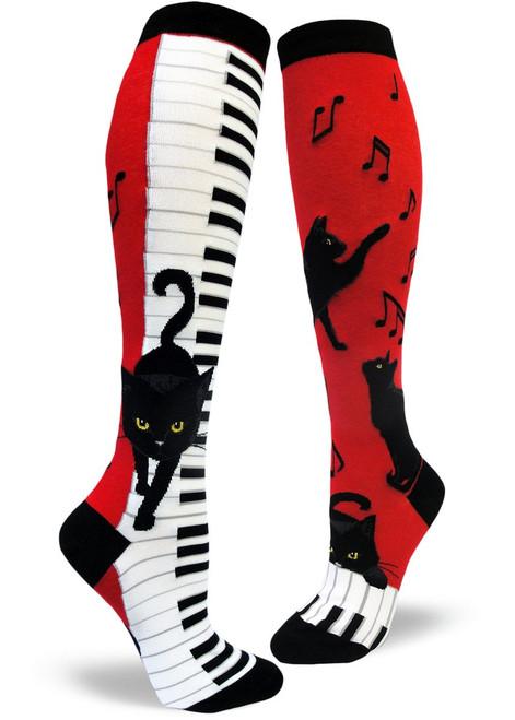 Piano Cat Women's Knee Socks Red