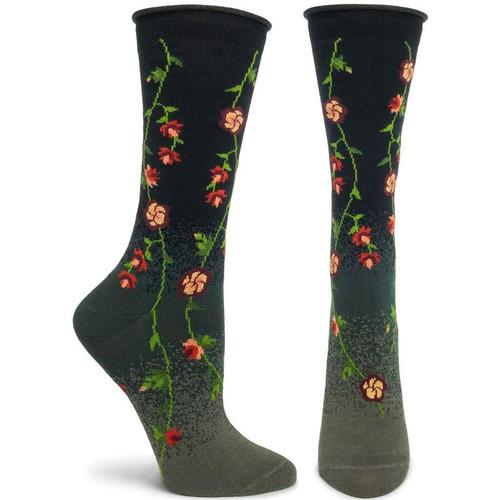 Tibetan Flowers Crew Socks - Black