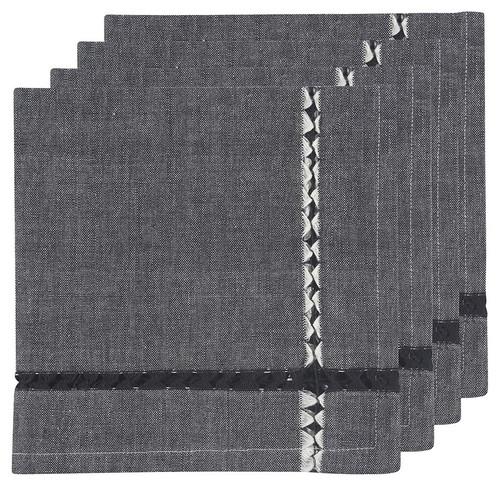 Tangier Knotted Black Napkins Set of 4