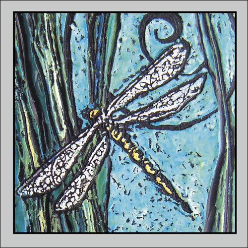 Dragonfly in Blue 3x3 Enclosure Card