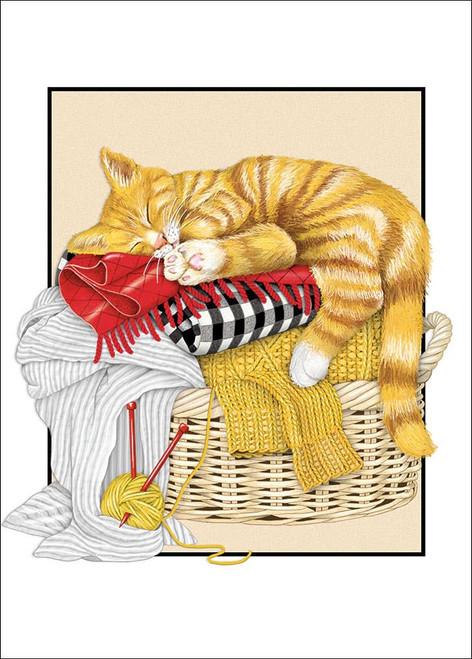 Cat Laundry Bed - Birthday Card