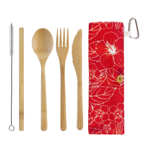 Reusable Bamboo Take-Along Utensil Roll - Red Hibiscus