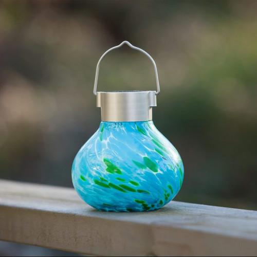 """4.5"""" x 5"""" Solar Glass Tea Lantern - Mint"""