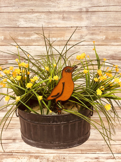 Robin Rusty Metal Bird Garden Yard Stake